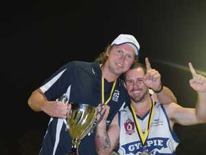 Gympie Cats belt out club song after winning AFL Wide Bay Premiership