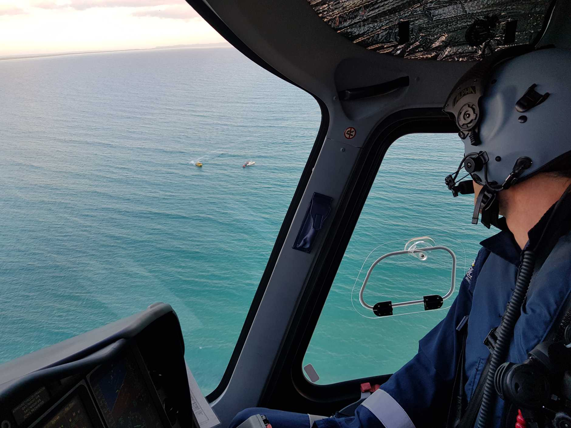 The Sunshine Coast-based RACQ LifeFlight rescue helicopter was tasked early this morning to Wolf Rock, off Double Island Point, where three men were rescued from a fishing charter.