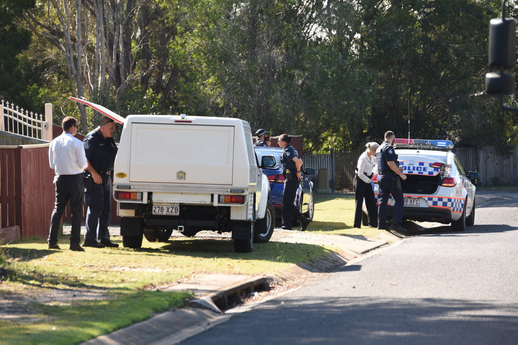 Police at the crime scene in Wondunna on April 27.