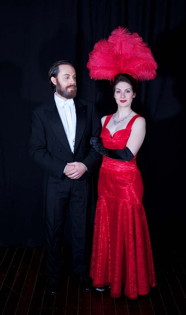 Justin Tamblyn and Shannon Gralow dressed as Horace Vandergelder and Dolly Levi for Hello, Dolly! at the Empire Theatre.