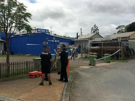 Police set up a crime scene at Mitre 10 after the incident on January 2, 2017.
