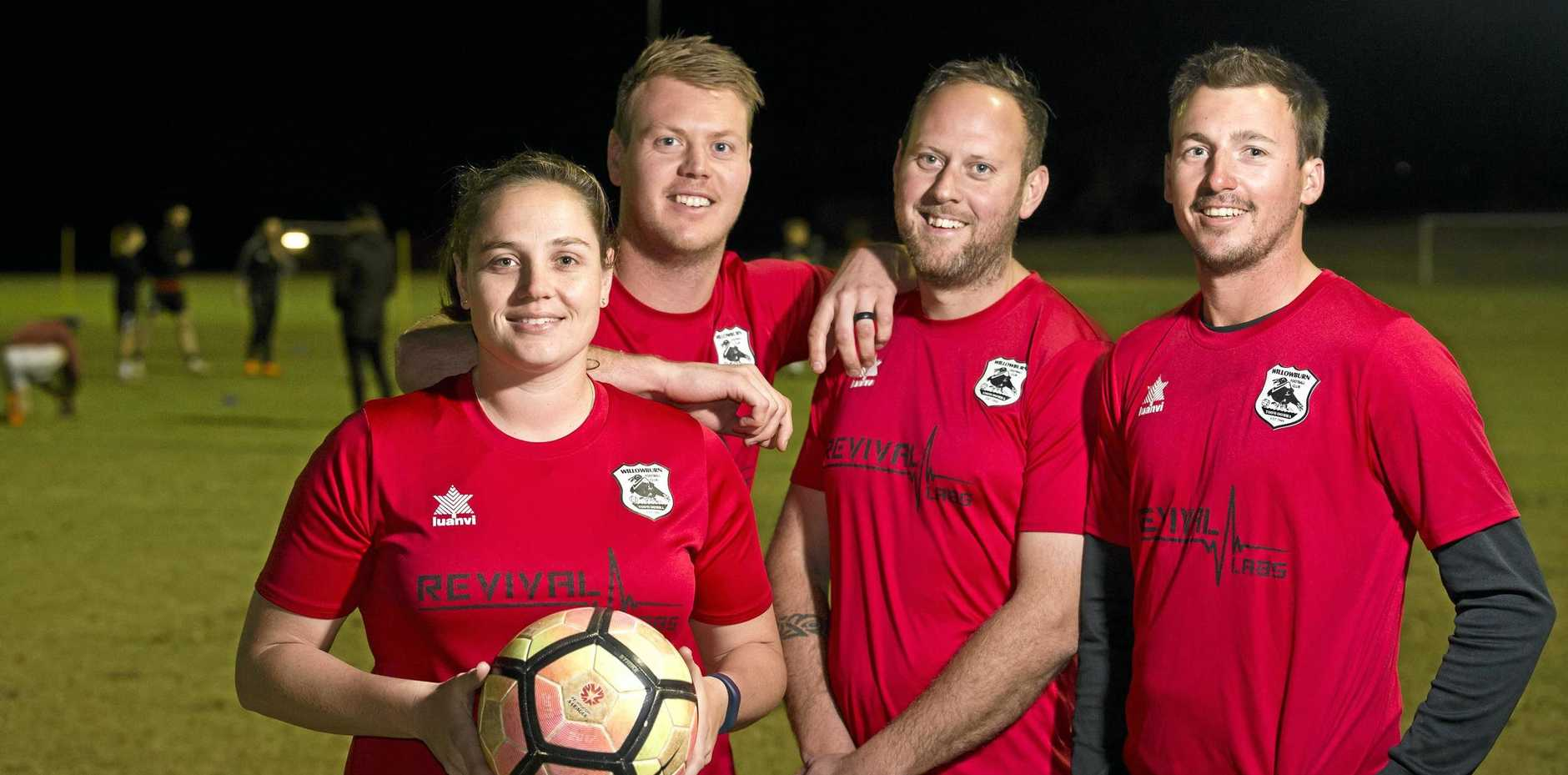 FINAL COUNTDOWN: Willowburn FC players (from left) Kiama Gray (Premier Women), Brenton Gietzel (Championship), Brad McMurray (Conference) and Brodie Welch (Premier Men) are ready to captain their teams in the Toowoomba Football League grand final matches tomorrow.