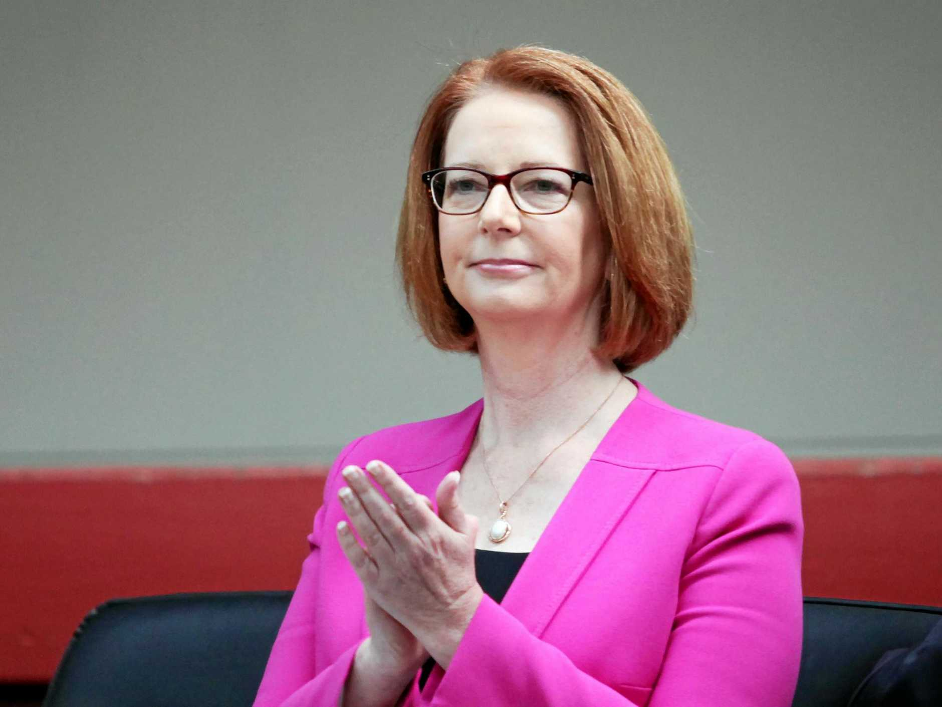 Prime Minister Julia Gillard at Marsden State High School's Biggest Morning Tea. Photo: Inga Williams / The Reporter