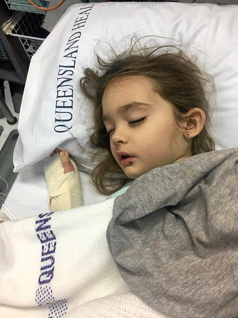 Addyson Hopkins, 4, at Kingaroy Hospital with severe tonsillitis and discharge from her left ear.