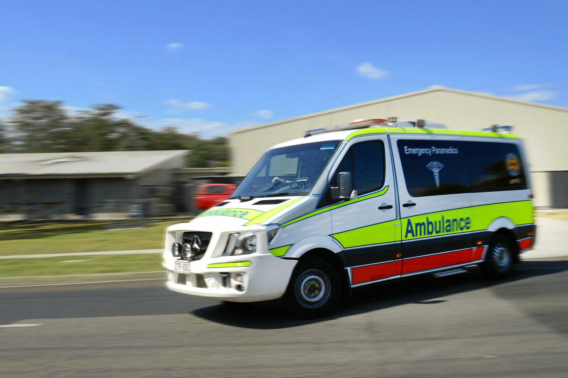 Paramedics were called to a single-motorbike crash at Landsborough this morning, where man was reportedly trapped against a tree.