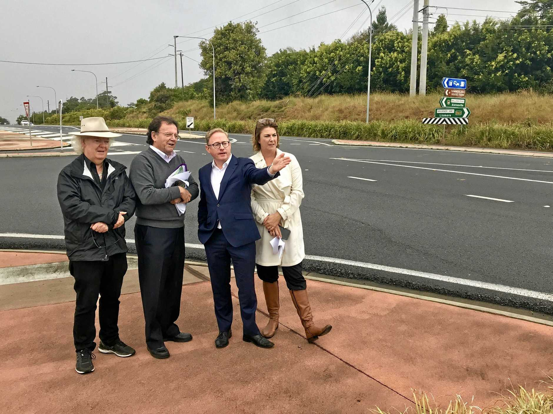 Ballina Mayor David Wright, RMS Northern Region Manager John Alexander, Nationals MLC Ben Franklin and Roads Minister Melinda Pavey at the Alstonville bypass.