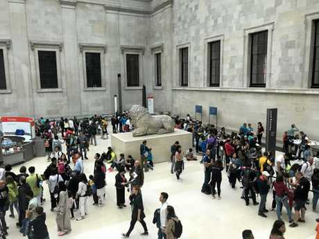 Just some of the crowds inside The British Museum.