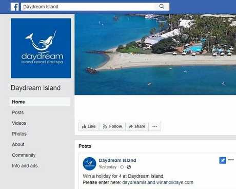The scam Daydream Island Facebook page.