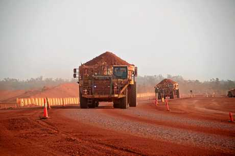 A haul truck loaded
