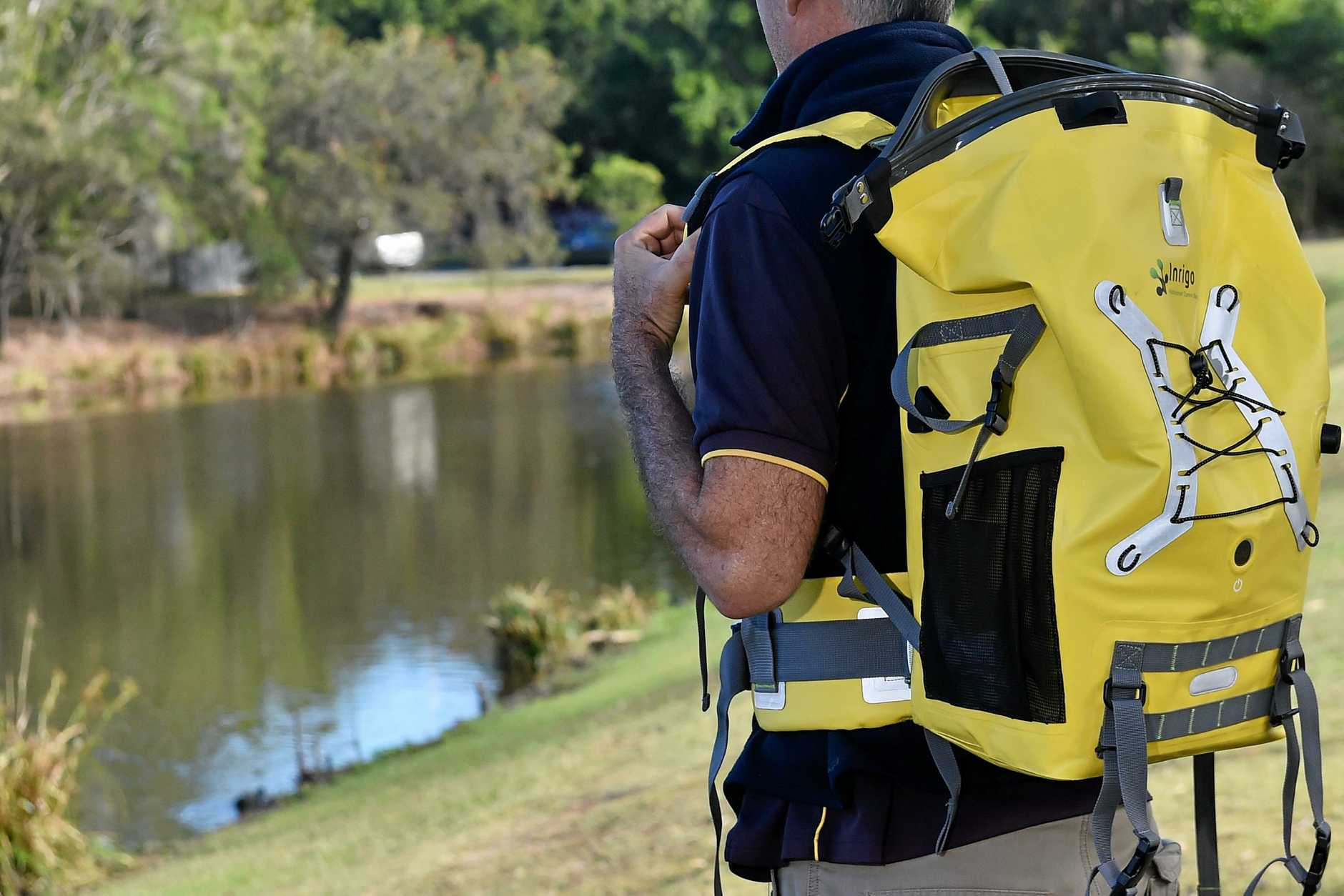 The Inrigo is a waterproof camera backpack that comes with an integrated Bluetooth humidity monitor that alerts users via smartphone alert if moisture is detected inside.