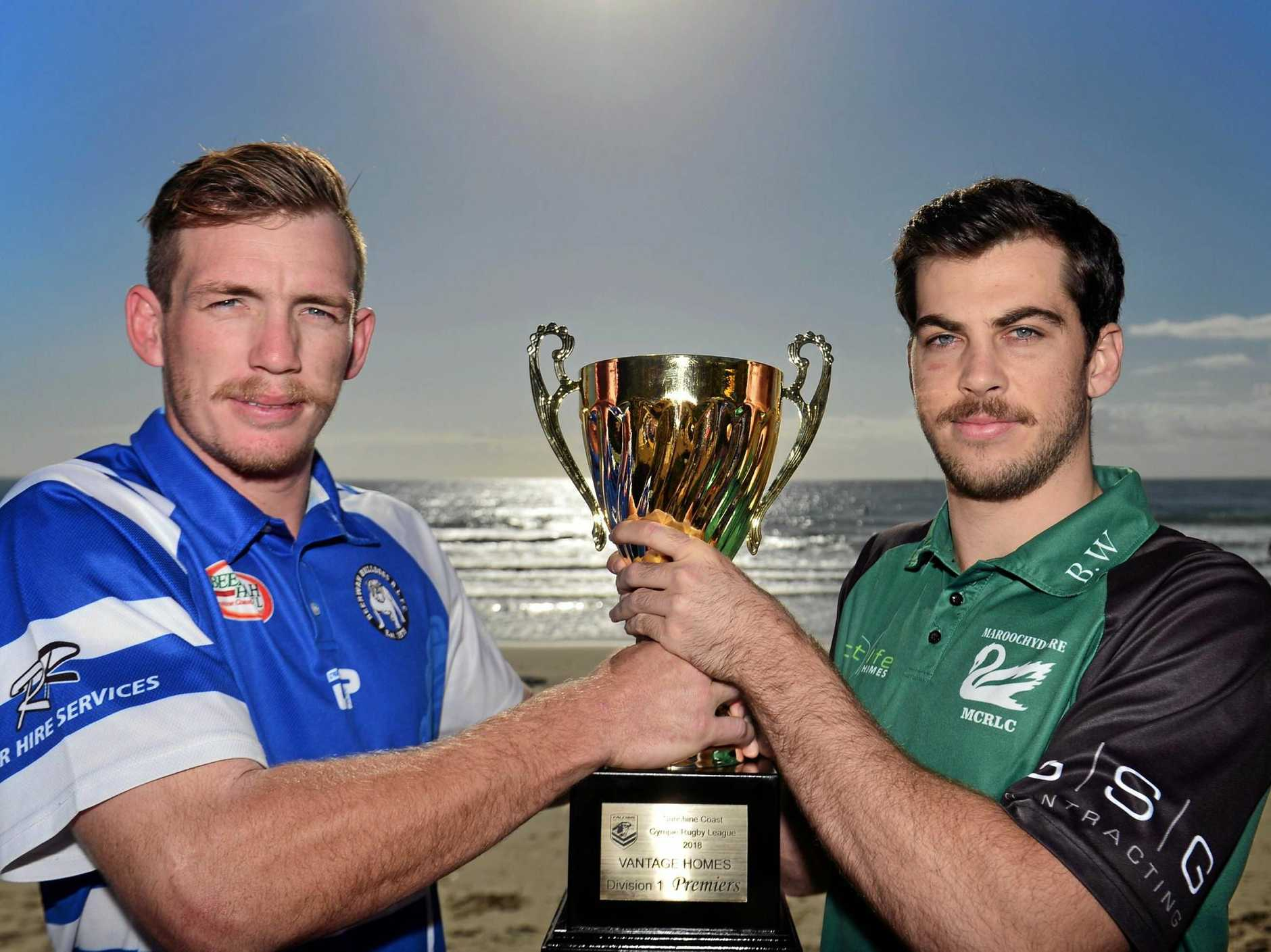 GAME ON: Beerwah Bulldogs club captain Daniel Kidd and Maroochydore Swans captain Josh Buckland with the season silverware ahead of the big clash today.
