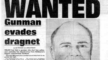 """Front page of The Sun newspaper during the 1985 manhunt for Noble Park gunman Pavel """"Mad Max"""" Marinof."""