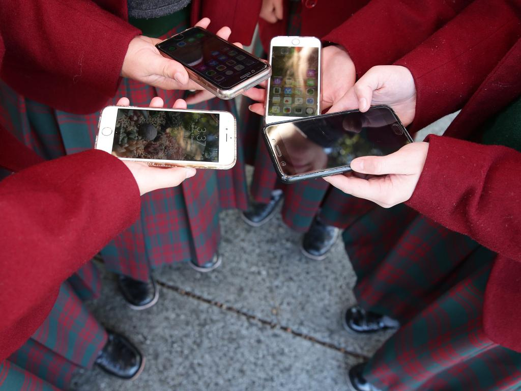 NSW review mulls school smartphone ban. Picture: Alison Wynd