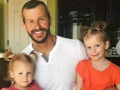 Chris Watts with his daughters, Bella and Celeste. Picture: Facebook