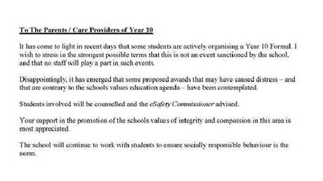 The school has hit out at the planned ceremony. Picture: Facebook