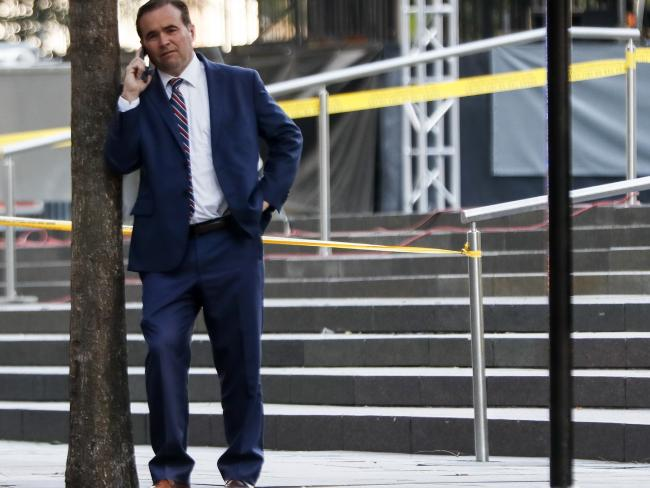 Cincinnati Mayor John Cranley stands at the scene as emergency personnel and police respond to reports of a shooting near Fountain Square, Cincinnati. Picture: AP