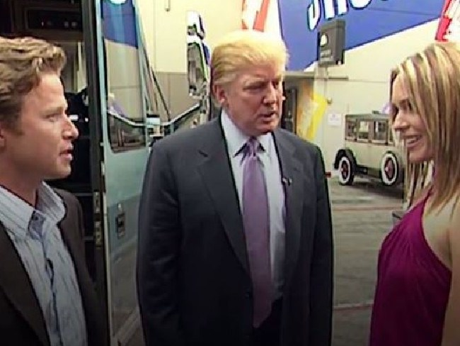 US TV host Billy Bush, who lost his job over the incident, with Donald Trump and Arianne Zucker. Picture: YouTube