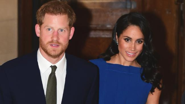 Britain's Prince Harry, left, and Meghan, the Duchess of Sussex arrive for '100 Days to Peace', an evening of music marking the centenary of the end of the First World War, at Westminster Central Hall, London. Picture: AP