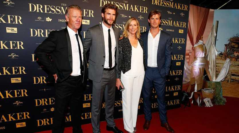 Craig, Liam, Leonie and Chris Hemsworth at the Australian premiere of 'The Dressmaker' in Melbourne in October 2015. Picture: Zak Kaczmarek/Getty Images