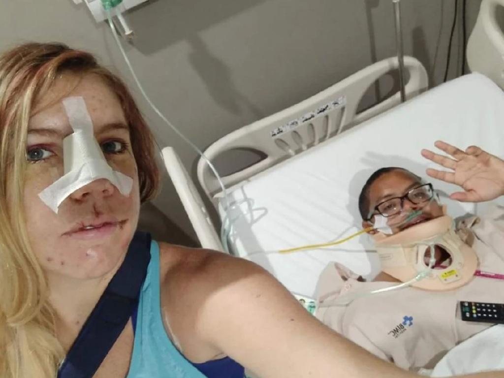 Stacey Eno and Mikey Lythcott recovering in hospital in Bali. Picture: GoFundMe