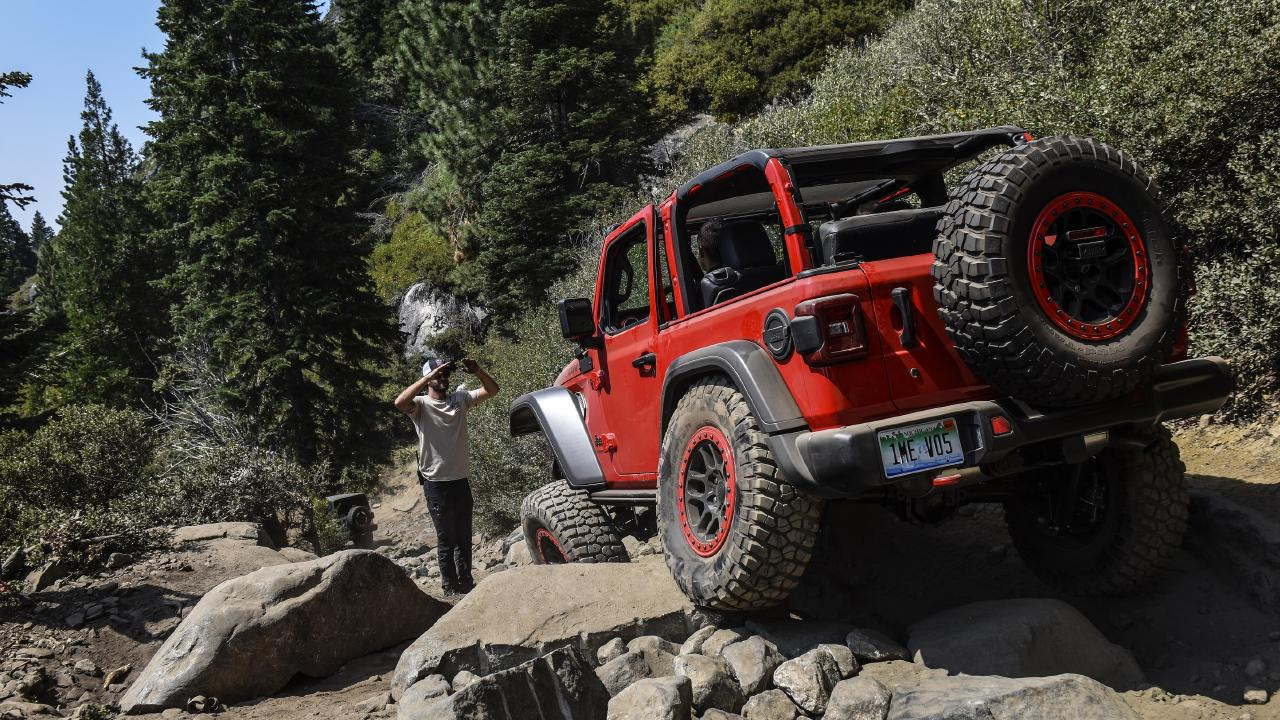 Steep decline: The 2019 Jeep Wrangler Rubicon has a departure angle of 37 degrees.