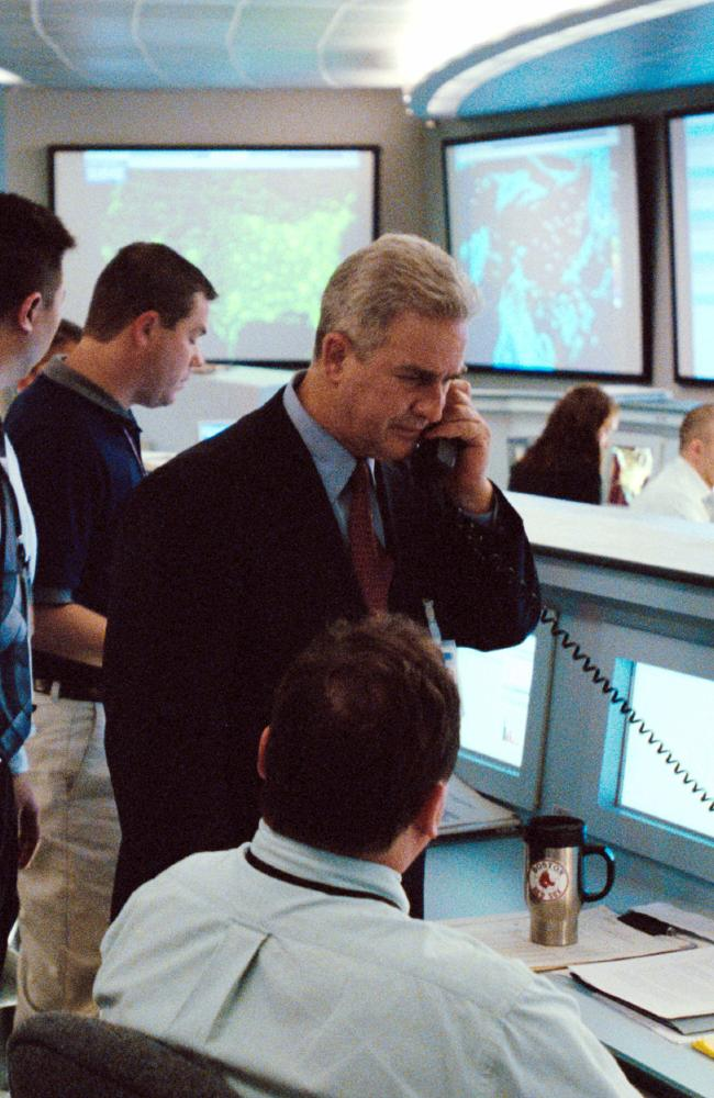 Former FAA national operations manager Ben Sliney plays himself in a scene from 2006 movie United 93. Picture: AP/Universal/Pictures