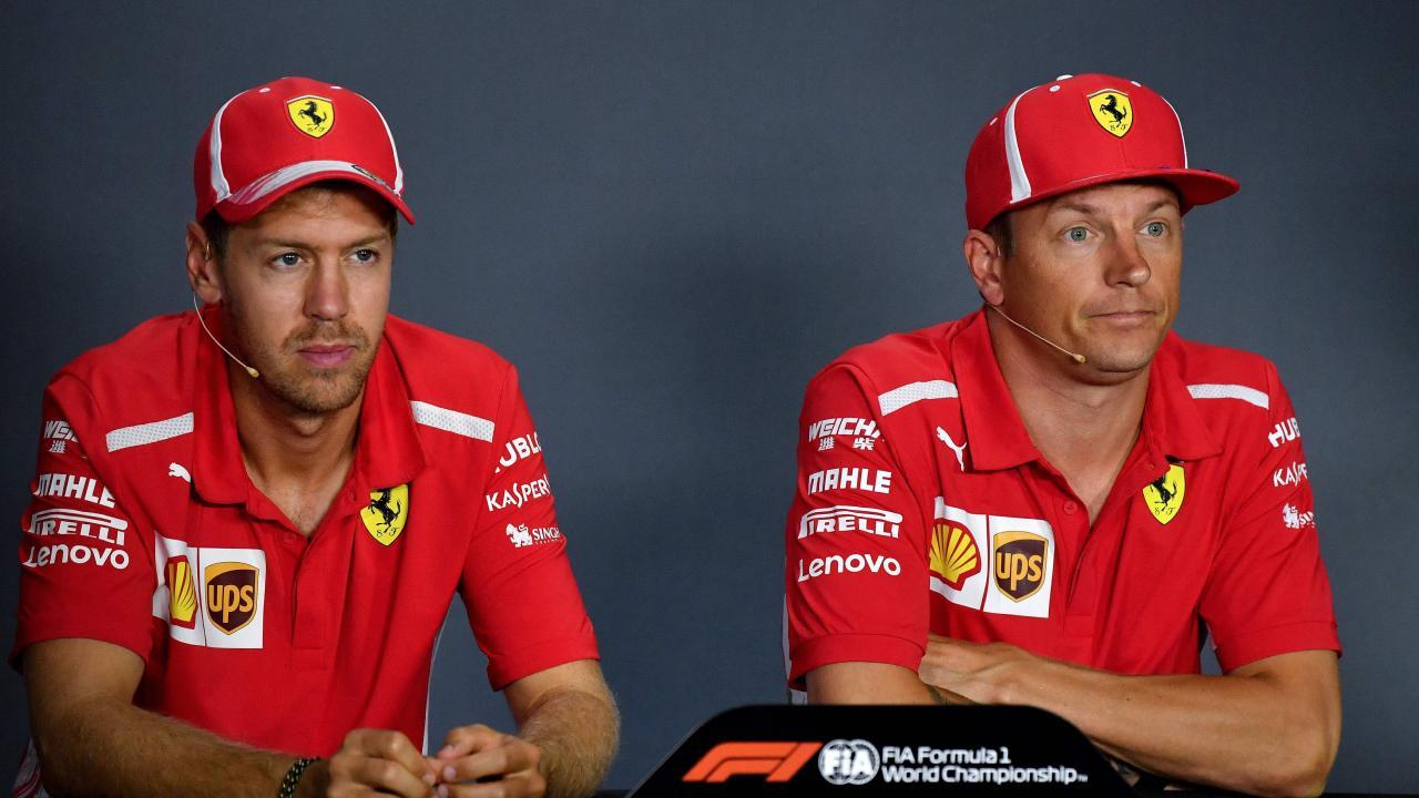 Ferrari's Sebastian Vettel and Kimi Raikkonen speak the media ahead of the Italian Grand Prix. Picture: Andrej Isakovic/AFP