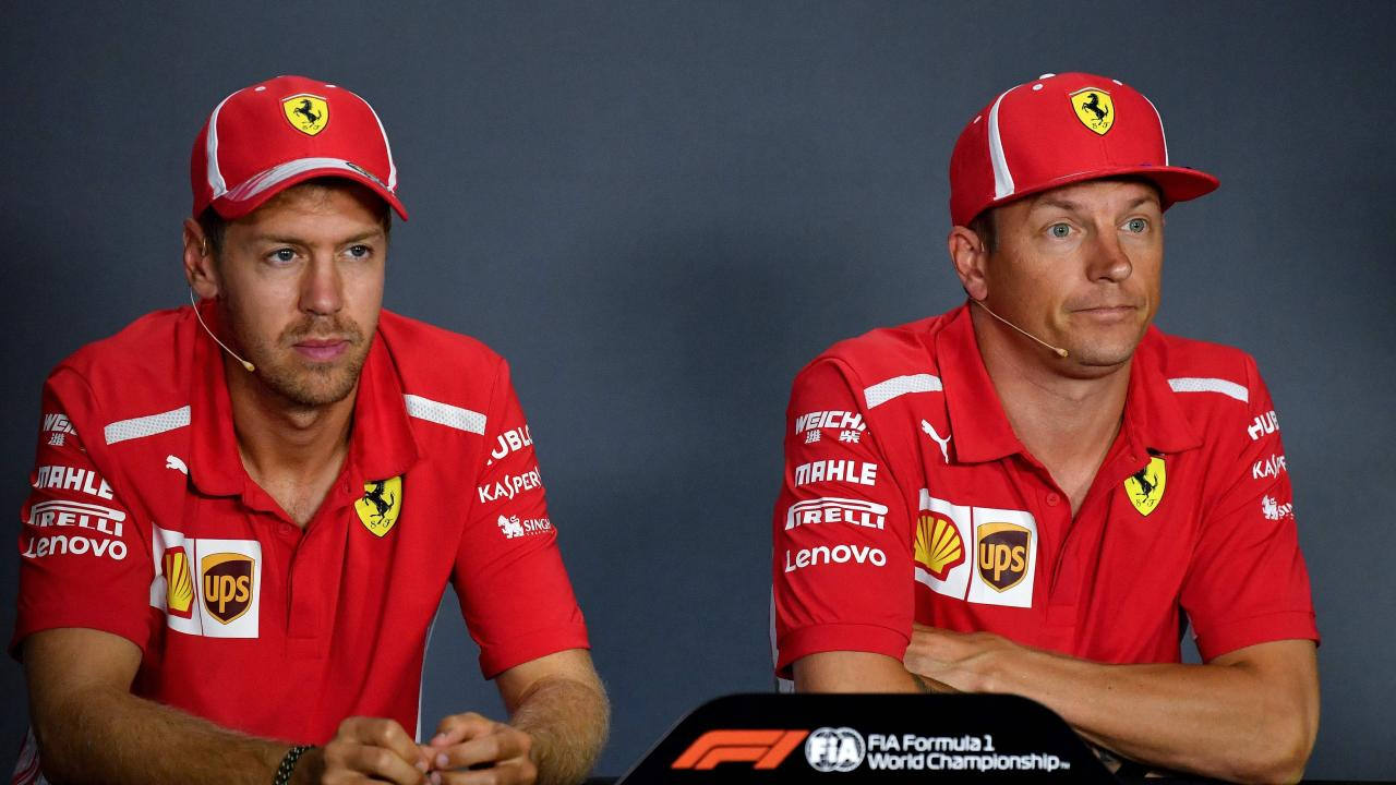 Ferrari's Sebastian Vettel and Kimi Raikkonen speak the media ahead of the Italian Grand Prix. Picture: Andrej Isakovic/AFP