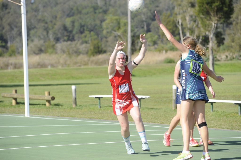 Image for sale: Lower Clarence Netball Association Div 2 grand final between Yamba Breakers Blue Birds and Iluka Red Devils.