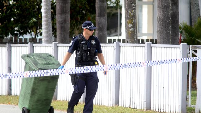 A police officer on the scene at Deception Bay following the shooting of Clinton Pollock. Picture: Tara Croser.
