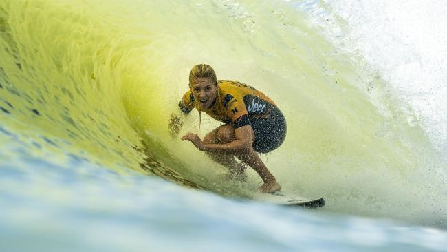 Stephanie Gilmore in action at the Surf Ranch Pro in Lemoore, California. Picture: QSL/KELLY CESTARI