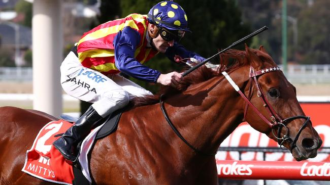 Nature Strip, with Mark Zahra in the saddle, takes out the McEwen Stakes at Moonee Valley on Saturday. Picture: George Salpigtidis/AAP