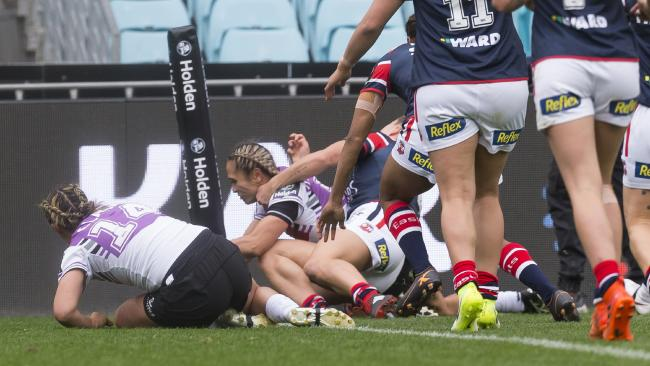 Hilda Mariu scores the first ever try in the NRL Women's Premiership. Picture: Craig Golding/AAP