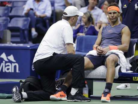 Rafael Nadal was forced to retire after the second set. Picture: AP