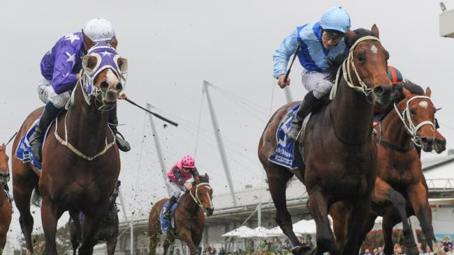 Jockey James McDonald rides Tarka (centre right) to victory in the Daily Telegraph Stan Fox Stakes. Picture: Simon Bullard/AAP