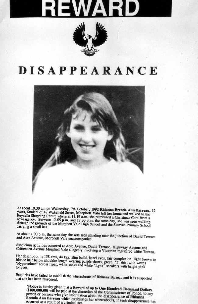 A poster advertising Rhianna's disappearance.