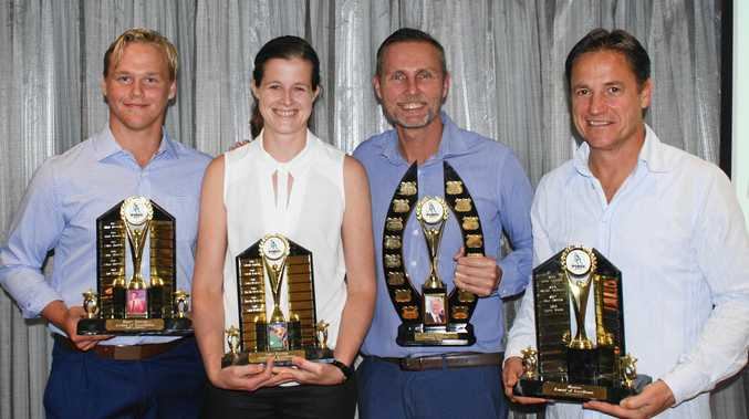 Ipswich Hockey's 2018 major award winners (from left) Zac Profke, Sara Rogers, Paul Malcolm and Terry Wode at the Gala Dinner.