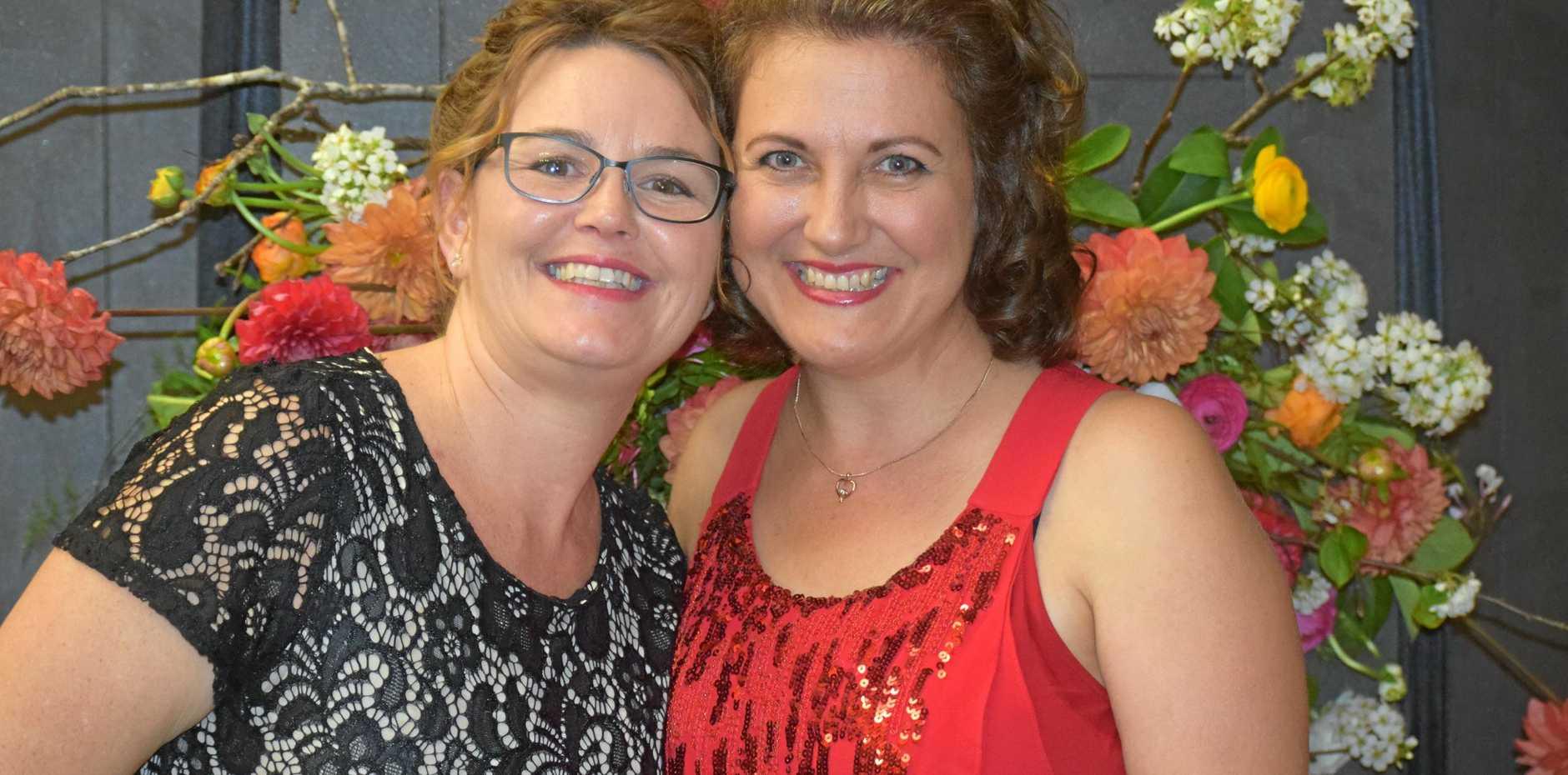 CELEBRATION TIME: Shelley Grambower and Gina Moore enjoyed the 2018 Business Awards on Saturday night.