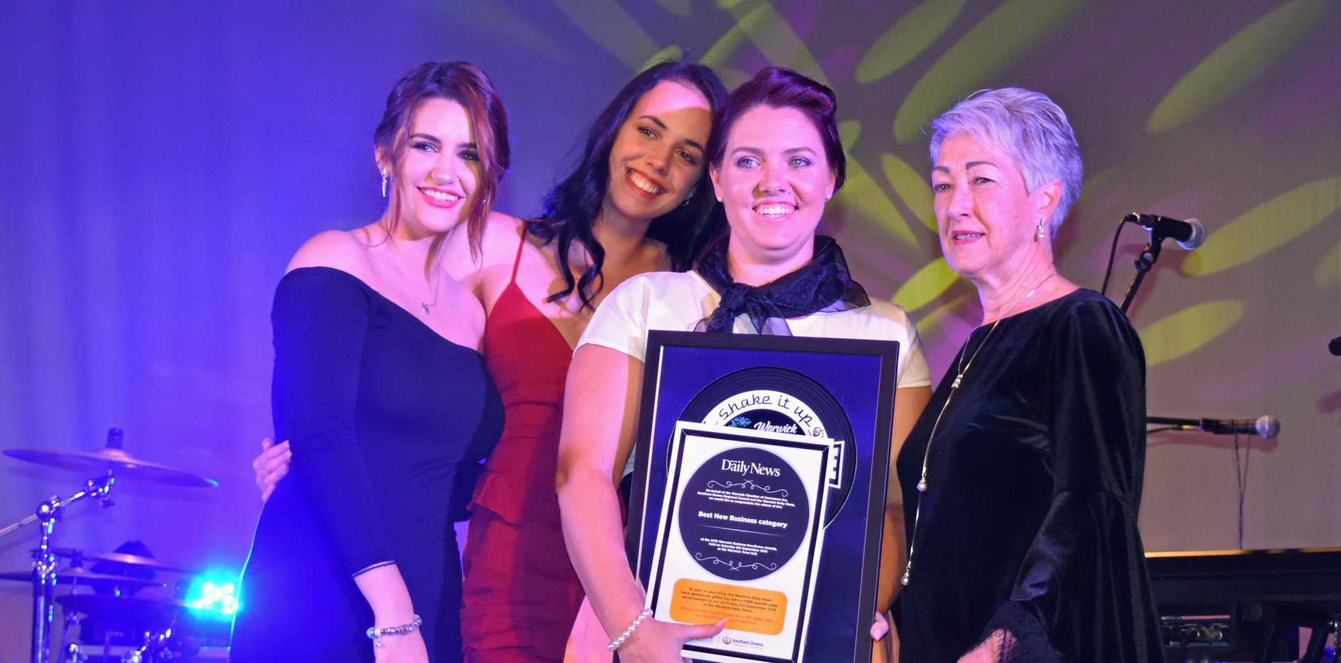 Best New Business: Hair Kreations owner Belinda Benz and staff Bree Clark, Brooke Walker, with presenter, Mayor Tracy Dobie