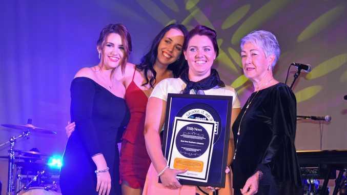 Best New Business: Hair Kreations owner Belinda Benz and staff Bree Clark, Brooke Walker, with presenter, Mayor Tracy Dobie