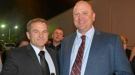 PRE-CELEBRATION DRINKS: Darren Eather and Haydn Lamb from Wickham Freight Lines.