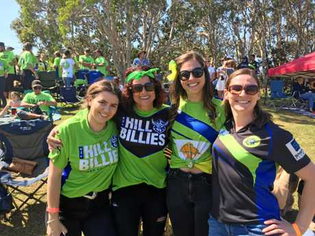 Raiders fans like Tahlia and Michelle Hensby, Chene Clydesdale and Serena Martin, or 'Hill Billies' as they are more accurately known, are getting behind their team today in Ballina.