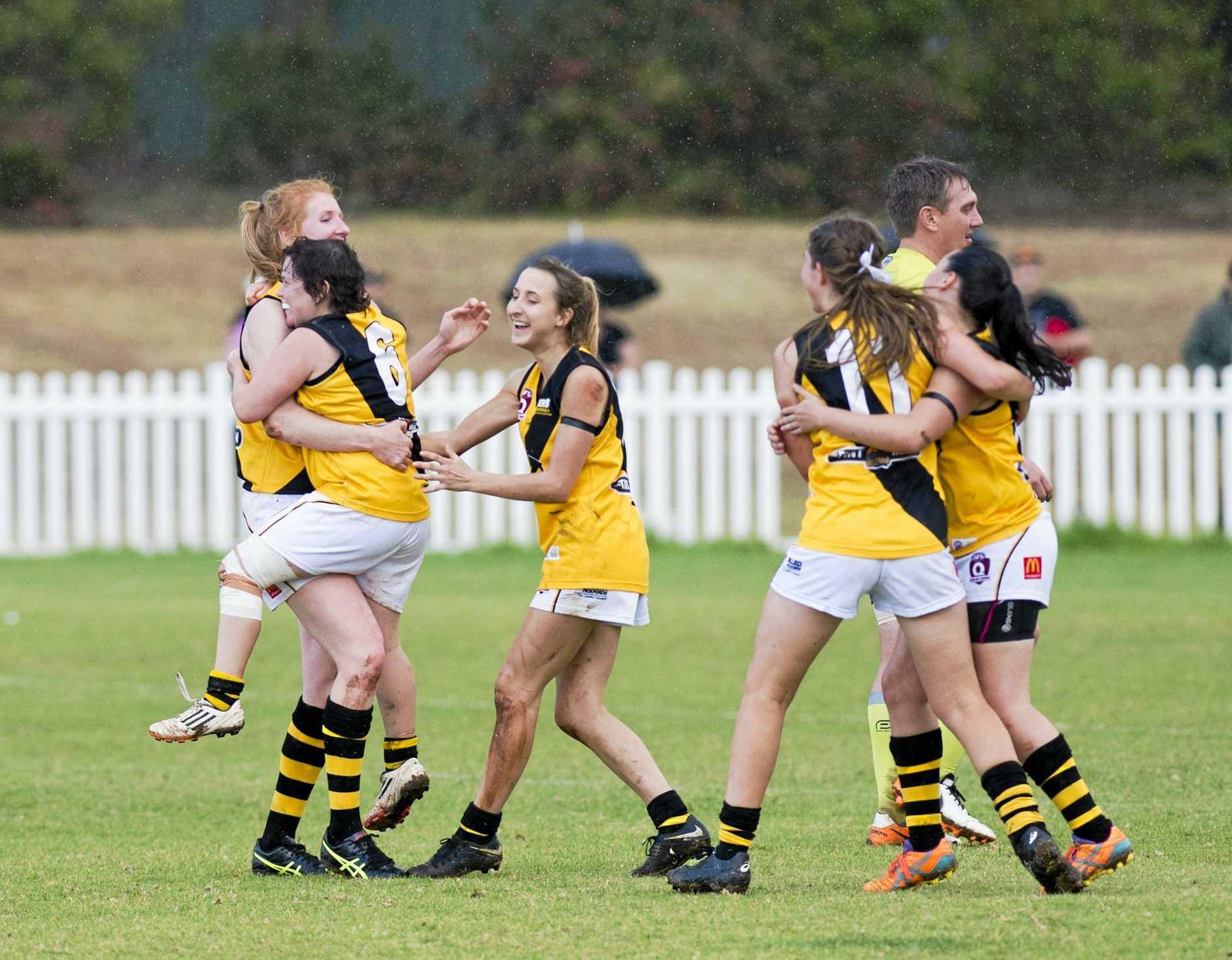Tigers celebrate their win. AFL Darling Downs, womens grand final Toowoomba vs USQ. Saturday, 8th Sep, 2018.