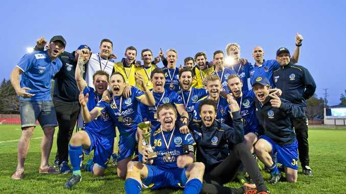 CHAMPIONS: USQ FC celebrate their Premier Men's grand final win against Willowburn at Clive Berghofer Stadium.
