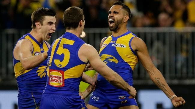 Lewis Jetta pulls out the Ronaldo celebration after his matchwinning goal. Picture: AFL Media