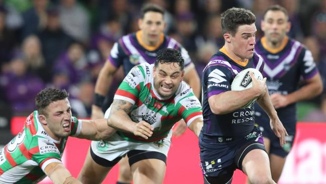 Brodie Croft in action for the Storm during the Qualifying Final between the Melbourne Storm and the South Sydney Rabbitohs in Week 1 of the NRL Finals Series at AAMI Park in Melbourne, Friday, September 7, 2018. (AAP Image/David Crosling) NO ARCHIVING, EDITORIAL USE ONLY
