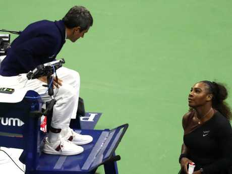 Williams of continues her emotional confrontation with chair umpire Carlos Ramos. Picture: Getty