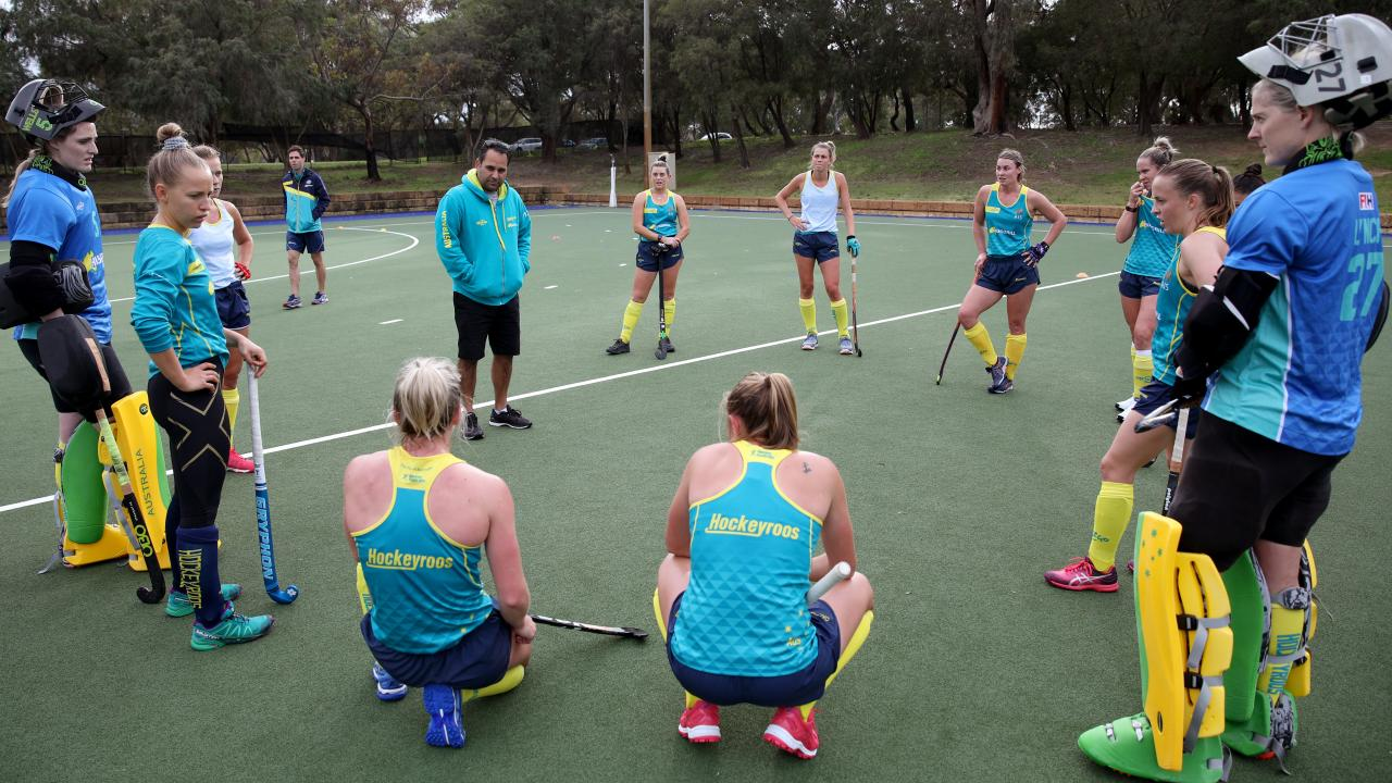 Hockeyroos coach Paul Gaudoin (centre) is seen during a training session in Perth. Picture: AAP Image