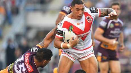 Tyson Frizell and the Dragons forwards ran riot against the Broncos pack, Picture: AAP