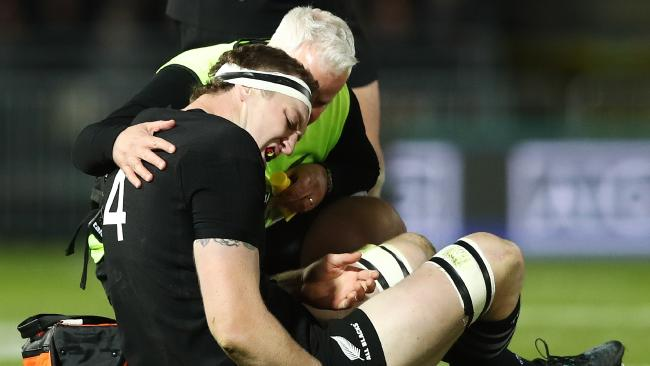 Brodie Retallick of the All Blacks sits injured at Trafalgar Park.